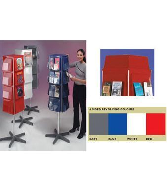 Revolving Leaflet Totems In Blue,red,white And Grey With Colour Chart Showing Availablity Of Different Options And Optional Header For Graphic Display