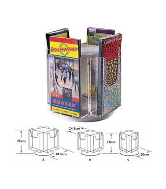 Revolving Table Top Leaflet Holder With Graphic Dimensions