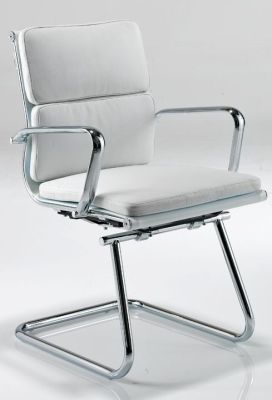 Eames Cantilever Conference Chair In White Leather With Integral Arms