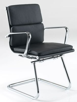 Eames Cantilever Boardroom Chair With Premium Soft Feel Black Leather