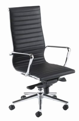 Aria High Back Managers Chair In Ribbed Black Leather With Chrome Armrests And Castors