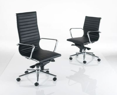 Two Aria Executive Chairs In Black Leather High And Low Back With Arm Rests