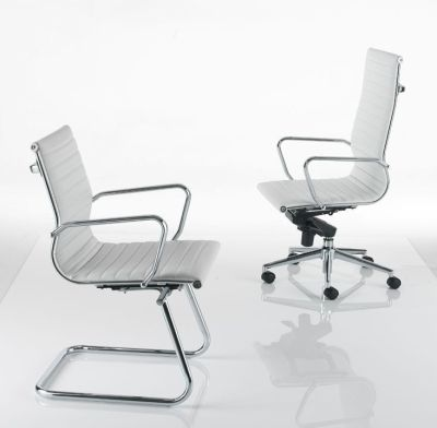 Aria Cantilever Low Back And Aria Swivel High Back Office Chairs In White Leather