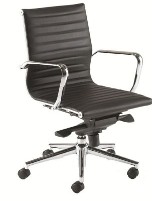 Aria Black Leather Designer Chair With Medium Back, Chrome Arms And Base