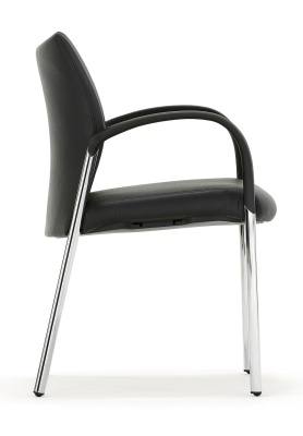 Trillipse Chair Fully Upholtered In Black Leather Side View