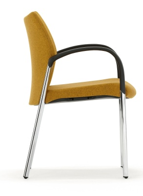 Trillipse Chair F Ully Upholstered With Arms And A Chtrome Frame From The Side