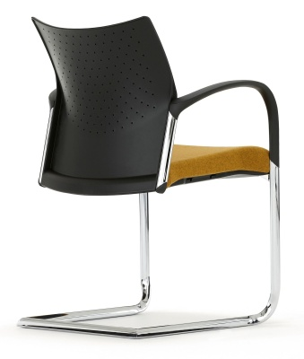 Trillipse Chair With A Cantilver Frame And Arms Width An Upholstered Seat Back Angle Shot