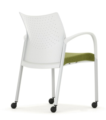 Trillipse Mobile Conference Chair With Arms And Upholstered Seat Rear Angle View