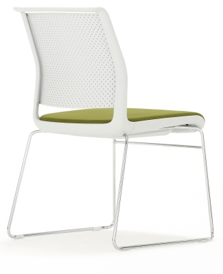 Adlib Chair With An Upholstered Seat And Skid Frame Back Angle Shot