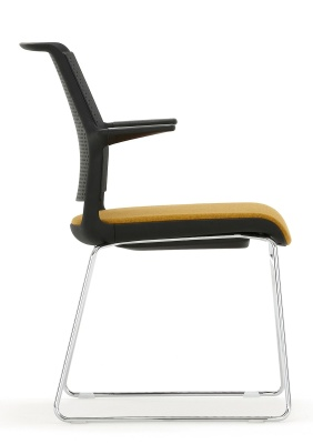 Ad Lib Chair Chair With An Upholstered Seat And Arms Black Shell Side View