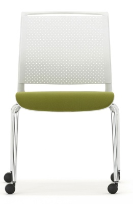 Ad Lib Chair With An Uphosltered Seat And Light Grey Shell Front Shot
