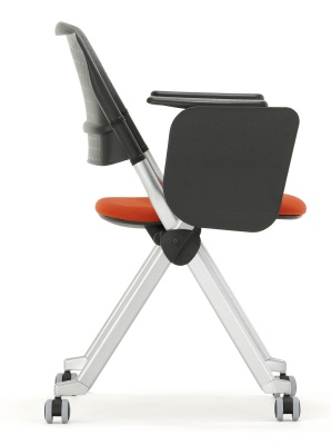 Pyramiod Chair With A Writing Tablet And Castors Side View