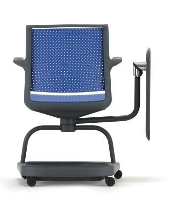 Adlib Chair In Blue Rear Shot With Tablet To One Side