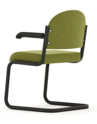 Titus Cantilever Chair With Arms Rear Angle Shot