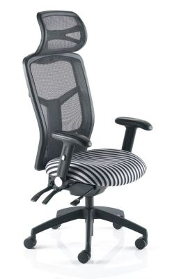 Hypo Mesh Office Chair With Mesh Back And Head Rest And Stripy Fabric Seat