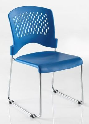 Dotty High Density Stackable Blue Classroom Chair With Perforated Back