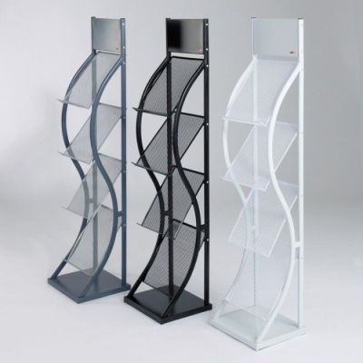 Three Contemporary Wave Leaflet Dispensers In Grey, Black And White