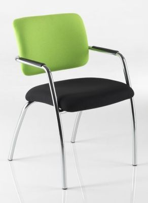 Mitre Conference Chair In Contrasting Green And Black Upholstery With Four Chrome Legs
