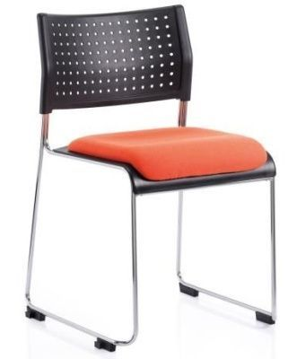 Vica Stacker Chair With Red Upholstered Seat, Black Perforated Polypropylene Back And Skid Base