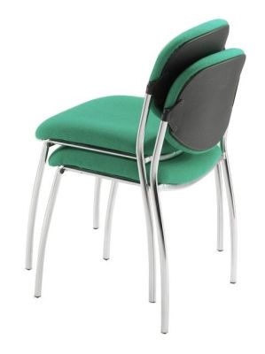 Sequence Lecture Hall Chairs In Dark Green Fabric With Chrome Splayed Legs