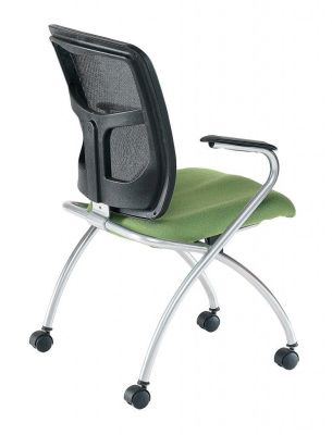 Side View Of Convoy Nesting Meeting Chair With Green Stretch Fabric Seat, Mesh Back, Chrome Legs And Integral Arm