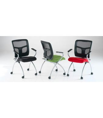 Convoy Mobile Conference Chairs With Mesh Backs And Blue,green And Red Fabric Seats