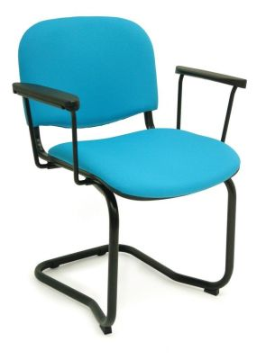 CP Stackable Blue Conference Chair With Arms And Black Cantilever Frame