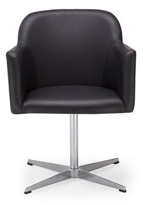Anthea Black Leather Swivel Conference Chair