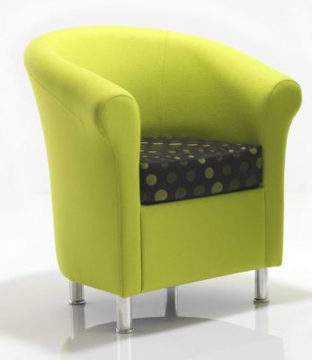 Batson Modern Styled Upholstered Tub Chair With Chrome Feet