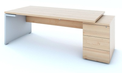 Mito Exectuve Pedestal Desk In Light Sycamore With White Accent Panal