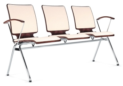 Axo Three Seater Beam With Upholstered Seat And Back And Arms At Each End