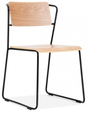 Tram Chair Front Angle Natural Ash Black Frame