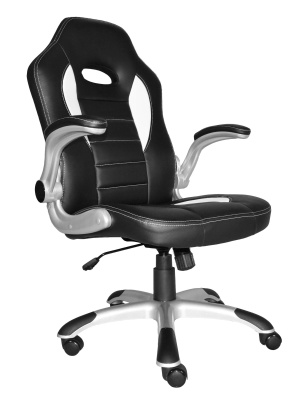 F1 Racer Chair Black With White Inserts Front Angle