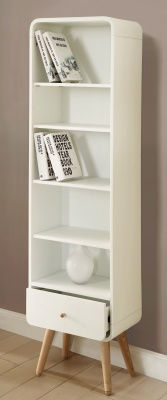 Memo Designer Tall Bookcase In White Ash