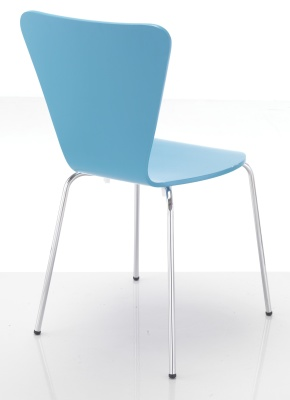 Keeler Blue Plywood Chair Rear Angle