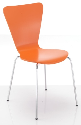 Keeler Orange Plywood Chair Front Angle