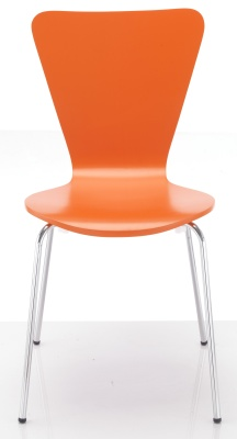 Keeler Orange Plywood Chair Front Facing View