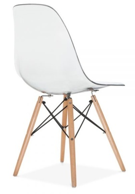 Eames Dsw Chair Transparent Shell Rear Angle