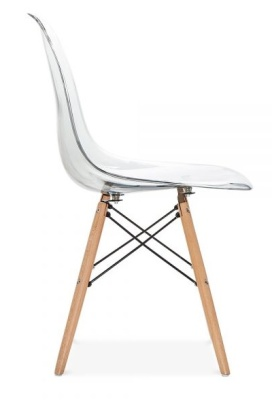 Eames Dsw Chair Transparent Shell Side Angle