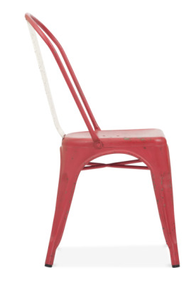 Xavier Pauchard Dining Chair In Distressed Red Side View