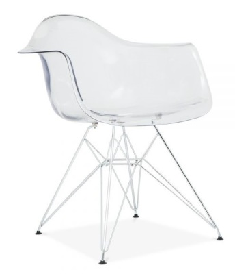 Eames DAR Chair Lwith A Transparent Seat Front Angle