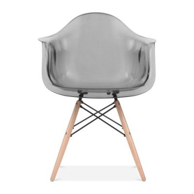 Daw Chair Smoke Grey Transparent Seat And Beech Legs
