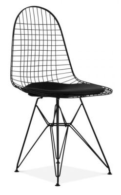 Eames DKR Black Wire Chair Front Angle