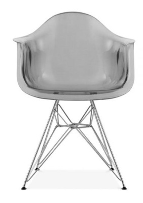 Eames DAR Chair With A Transparent Smoked Grey Shell Front View