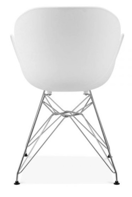 Eames Inspired Butterfly Chair In White With Metal Legs Rear View