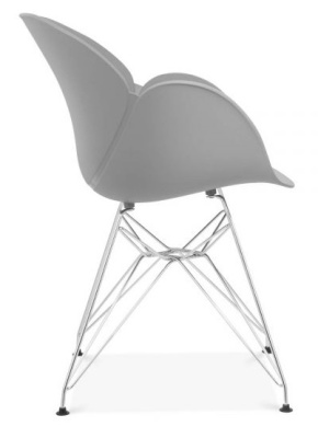 Eames Inspired Butterfly Chair With Metal Legs And A Grey Shell Side View