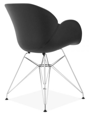 Eames Inspired Butterfly Chair With A Black Shell And Wire Frame Back Angle