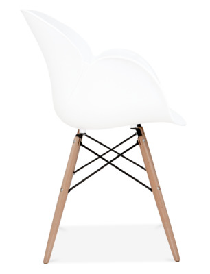 Eames Inspired Butterfly Chair With Wooden Legs And A White Shell Side View
