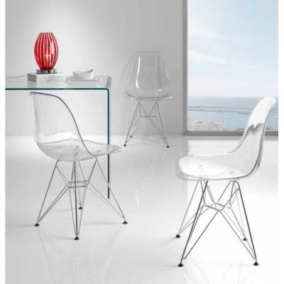 Eames Dsw Chairs With A Clear Shell Mood Shot