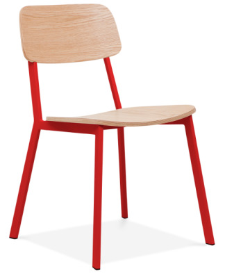 Rica Chair With A Red Frame Front Angle